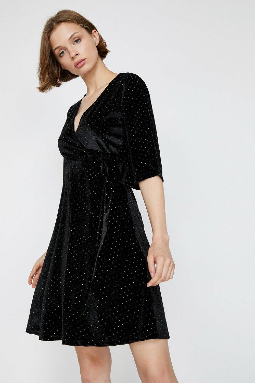 Koton Puantiyeli Siyah Mini Elbise