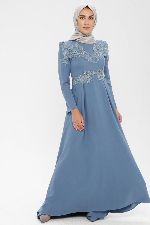 MISSVALLE Mavi Dantel Detaylı Abiye Elbise