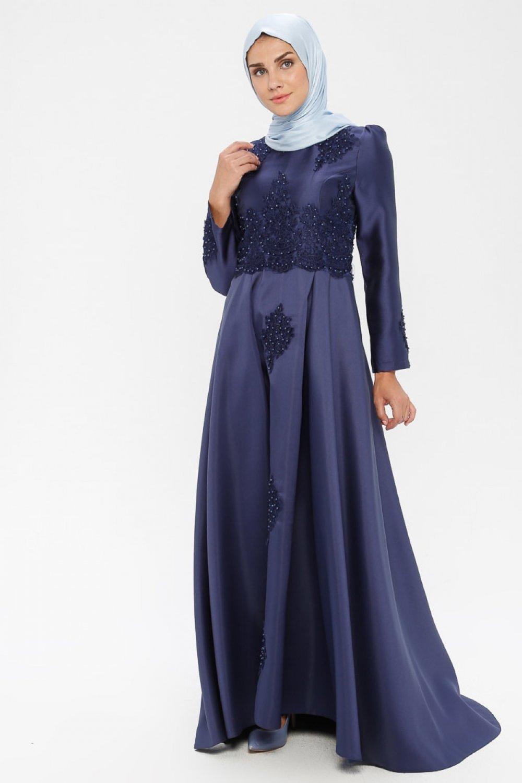 MISSVALLE Lacivert Dantel Detaylı Abiye Elbise