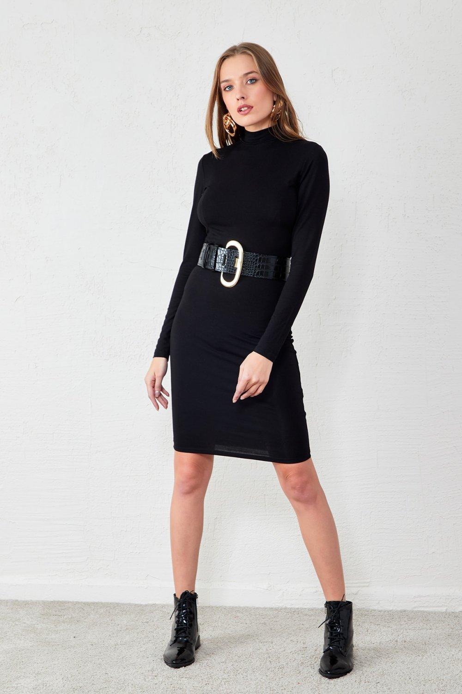 Eka Siyah Yarım Balıkçı Mini Elbise