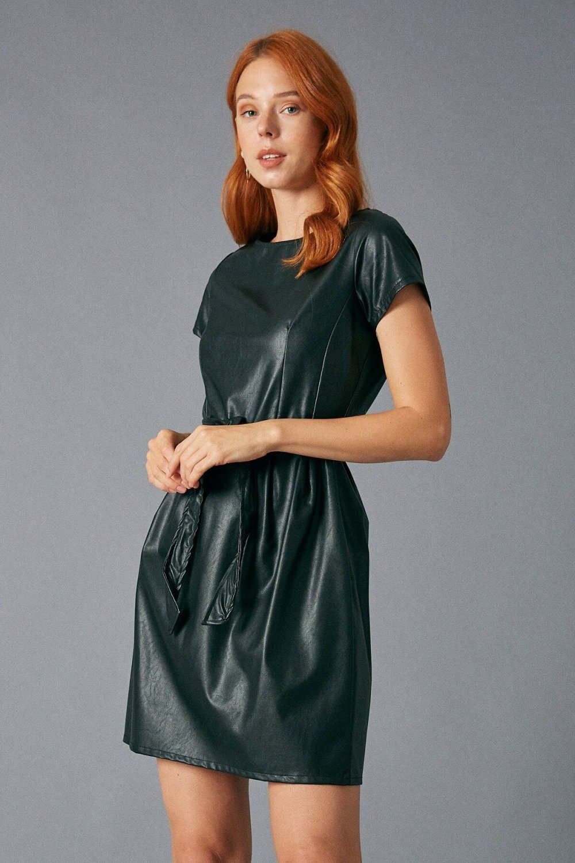 Robin Suni Deri Siyah Mini Elbise