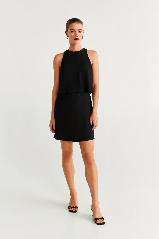 Mango Siyah Boncuklu Mini Elbise