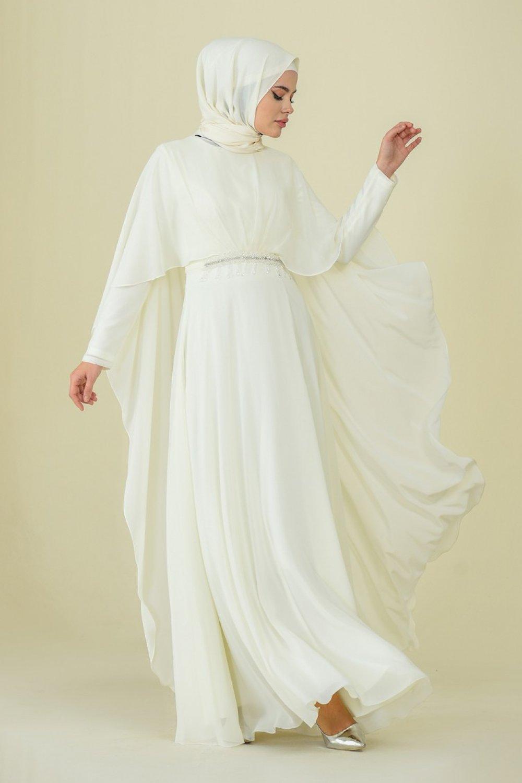 Sefamerve Krem Taşlı Abiye Elbise