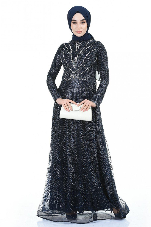 Sefamerve Lacivert Taşlı Simli Abiye Elbise