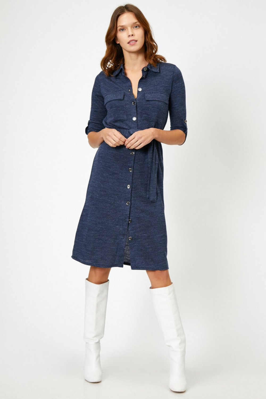 Koton Düğme Detaylı Lacivert Midi Elbise