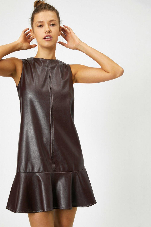 Koton Suni Deri Görünümlü Şarap Mini Elbise