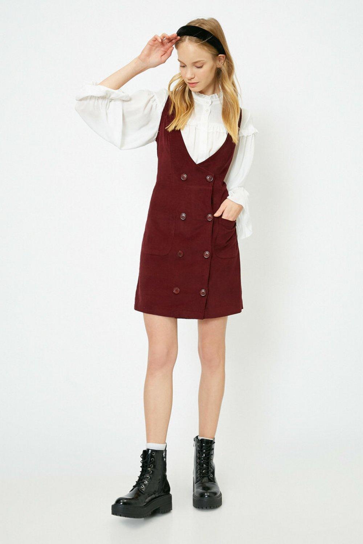 Koton Düğme Detaylı Bordo Mini Elbise