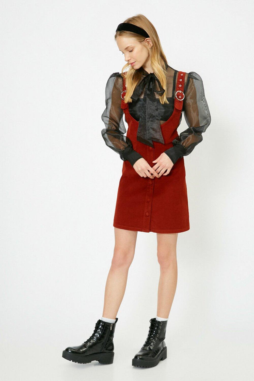 Koton Düğme Detaylı Kiremit Mini Elbise