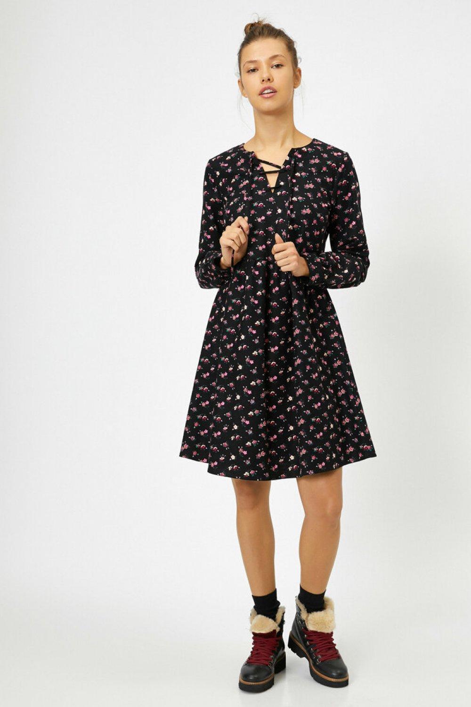 Koton Desenli Siyah Mini Elbise