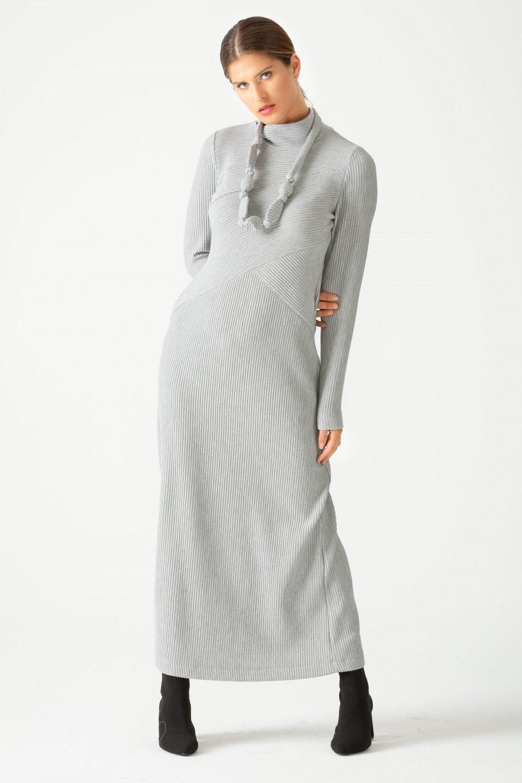 SCL Gri Boğazı Fitilli Elbise