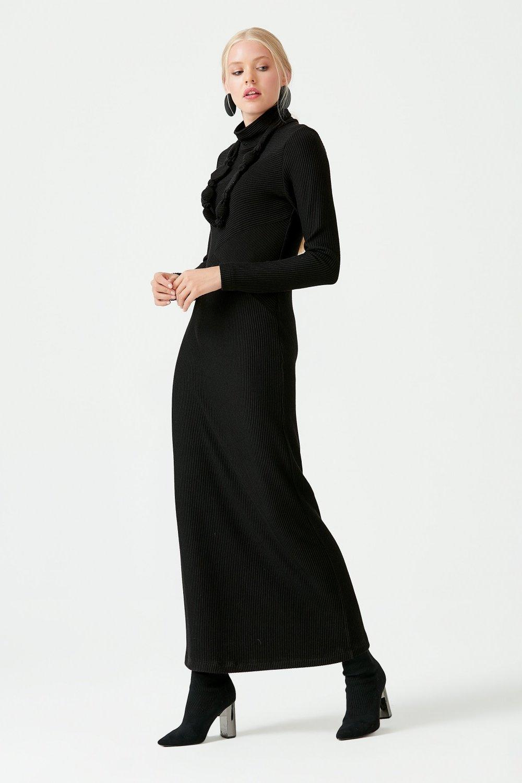 SCL Siyah Boğazı Fitilli Elbise