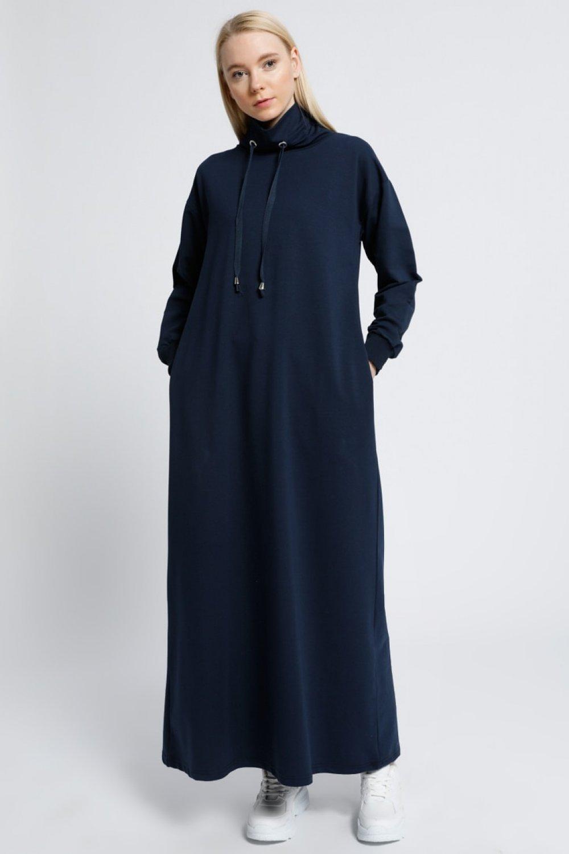 Everyday Basic Lacivert Boğazlı Yaka Cepli Spor Elbise