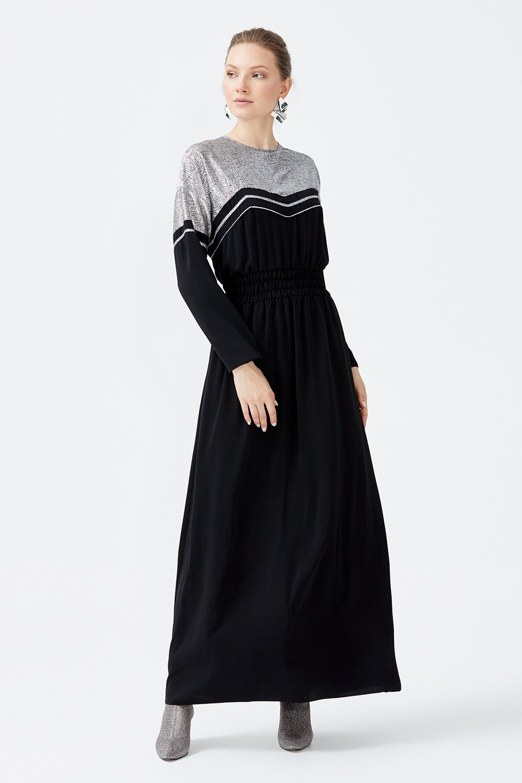 SCL Siyah Gümüş Karışık Beli Lastik Detaylı Elbise