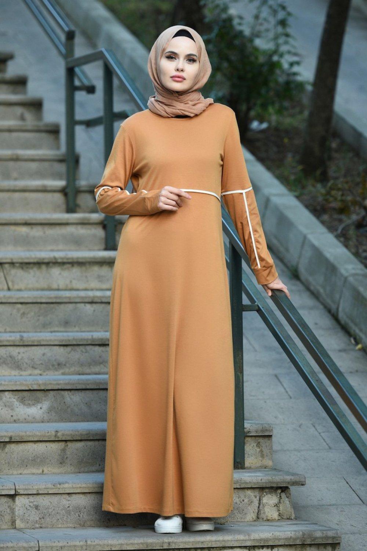 Sefamerve Hardal Şeritli Spor Elbise