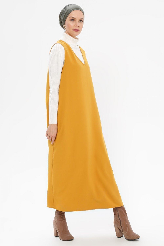 Meryem Acar Hardal V Yaka Jile Elbise