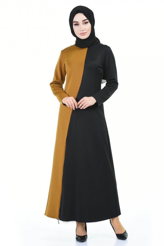 Sefamerve Siyah Hardal Fermuar Detaylı Elbise