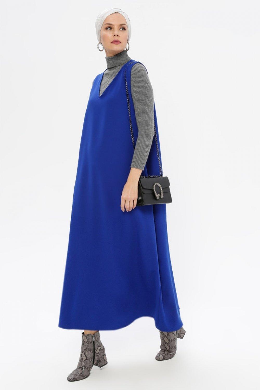 Meryem Acar Saks Mavisi V Yaka Jile Elbise