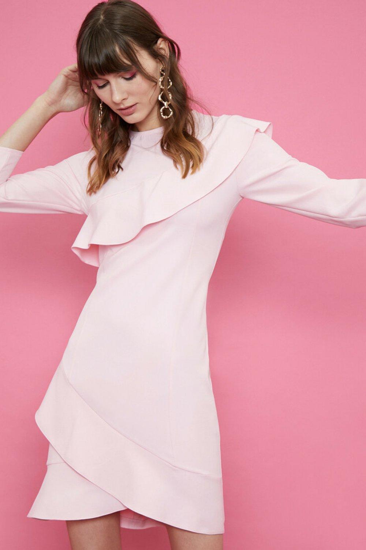 Koton Fırfır Detaylı Pudra Mini Elbise