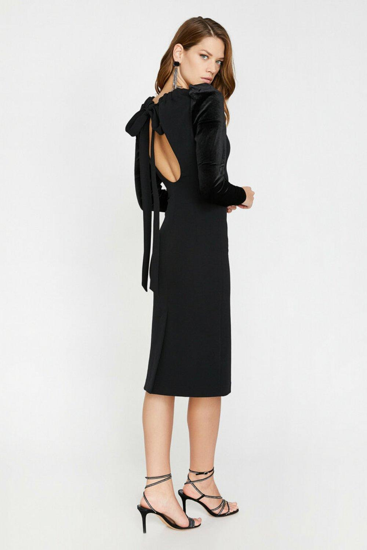 Koton Sırt Detaylı Siyah Midi Abiye Elbise