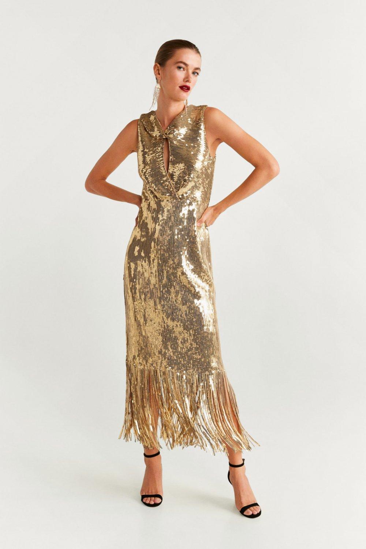Mango Altın Sarısı Payetli Uzun Abiye Elbise
