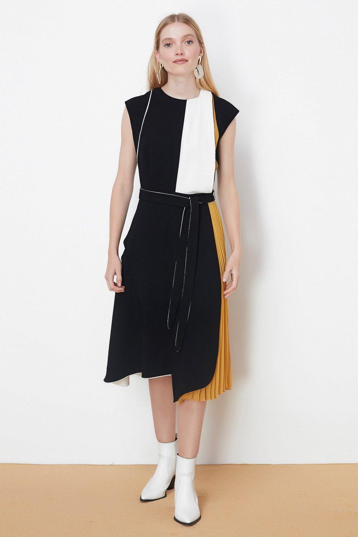 İpekyol Siyah Color Block Midi Elbise