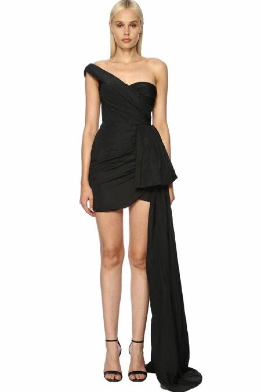 Network Tek Omuzlu Siyah Mini Abiye Elbise