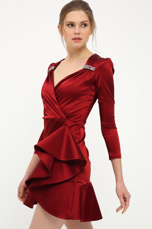 Betty&Sam Koyu Kırmızı Asimetrik Fırfırlı Saten Mini Abiye Elbise