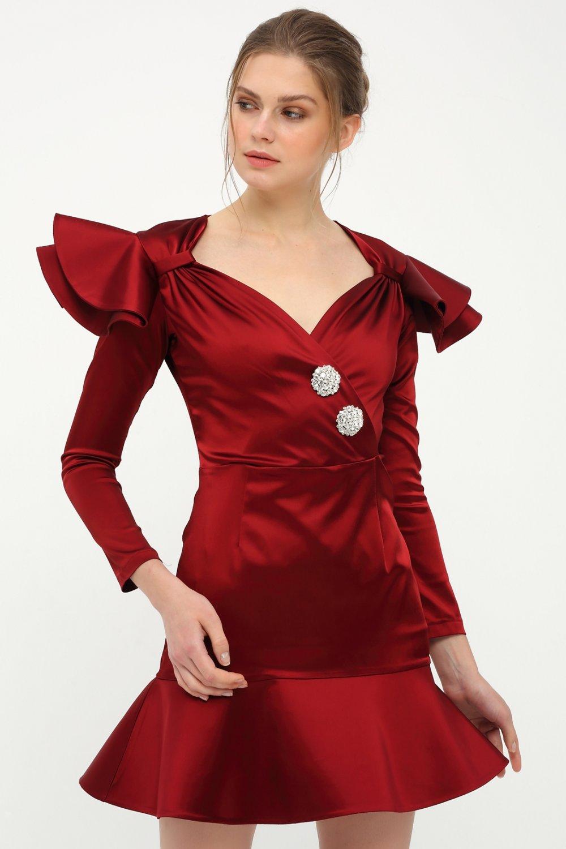 Betty&sam Koyu Kırmızı Saten Mini Abiye Elbise
