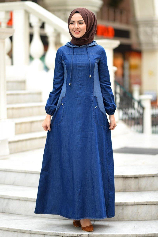 Tesettur Dunyasi Koyu Mavi Kapsonlu Kot Spor Elbise Elbisebul