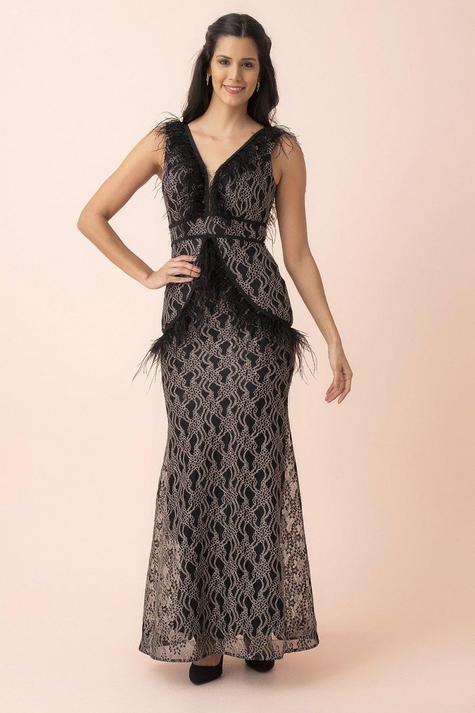 Ardanewline Tüy Detaylı Balık Siyah Uzun Abiye Elbise