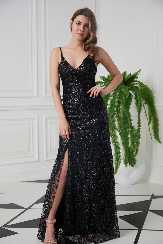 Mekafashion Askılı Payet Desenli Siyah Uzun Abiye Elbise