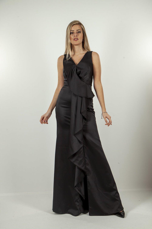 Ardanewline Kruvaze Yaka Siyah Uzun Abiye Elbise
