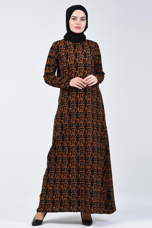 Sefamerve Siyah Taba Desenli Elbise