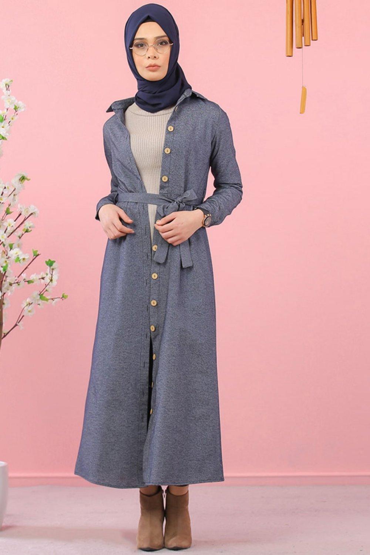 Tofisa Lacivert Kuşaklı Gömlek Elbise