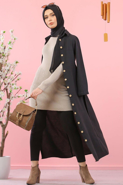Tofisa Siyah Kuşaklı Gömlek Elbise