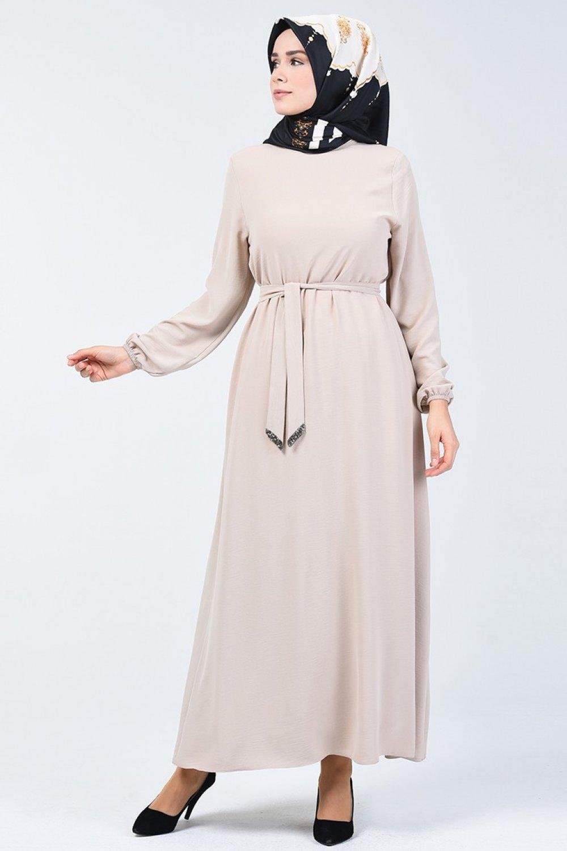 Sefamerve Bej Aerobin Kumaş Kuşaklı Elbise