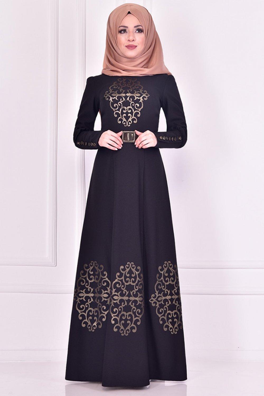 AYŞE MELEK TASARIM Siyah Omuz Aplikeli Abiye Elbise