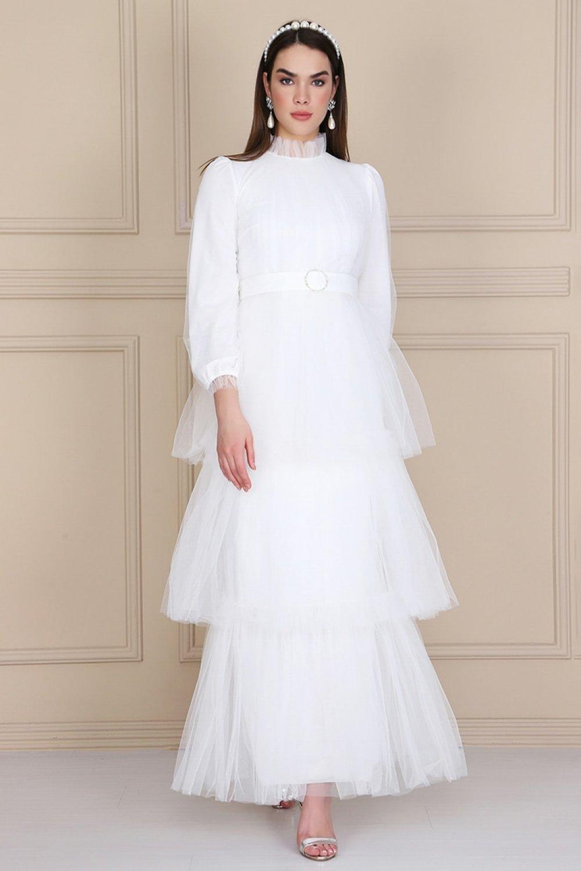 Lady Huri Beyaz Kemerli Kat Kat Tüllü Elbise Abiye Elbise