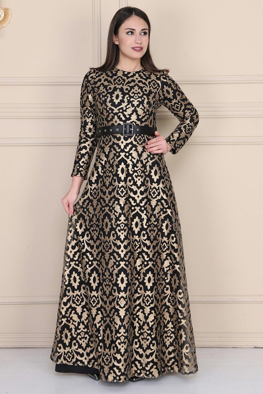 Sew&Design Siyah Altın Osmanlı Desen Lazer Deri Abiye Elbise