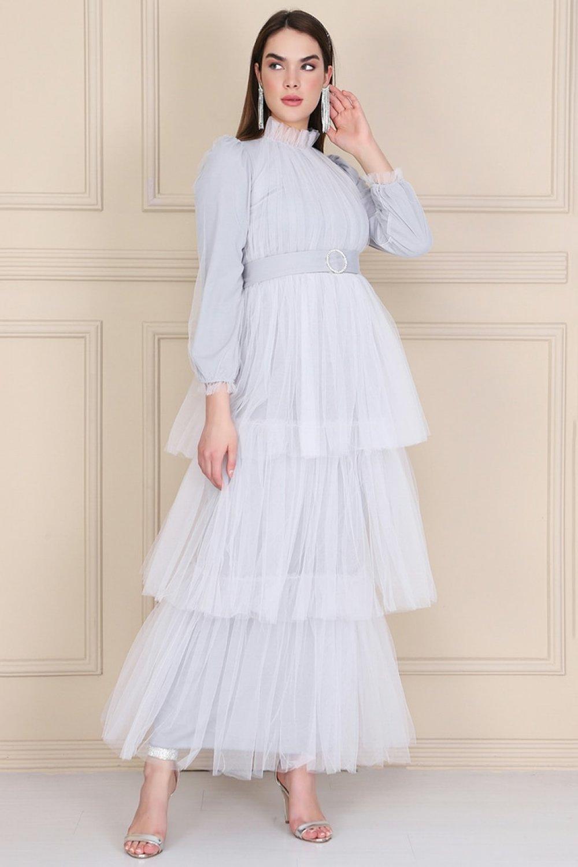 Lady Huri Gri Kemerli Kat Kat Tüllü Elbise Abiye Elbise