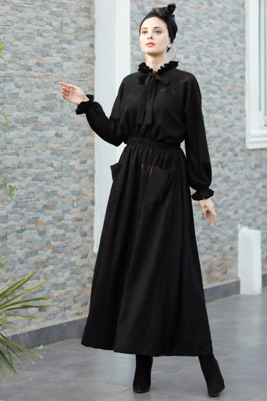 Ahunisa Siyah Fiyonk Abiye Elbise