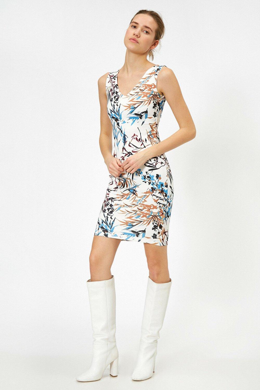 Koton Askılı Desenli Hardal Mini Elbise