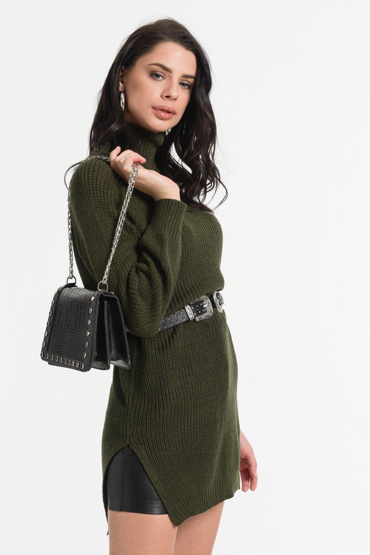 Styletag Haki Triko Mini Elbise