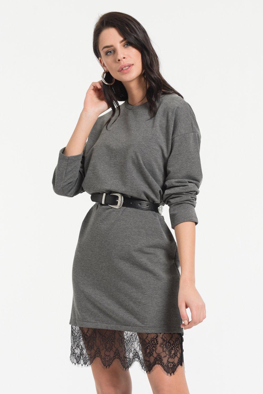 Styletag Antrasit Siyah Etekleri Dantel Detaylı Mini Elbise