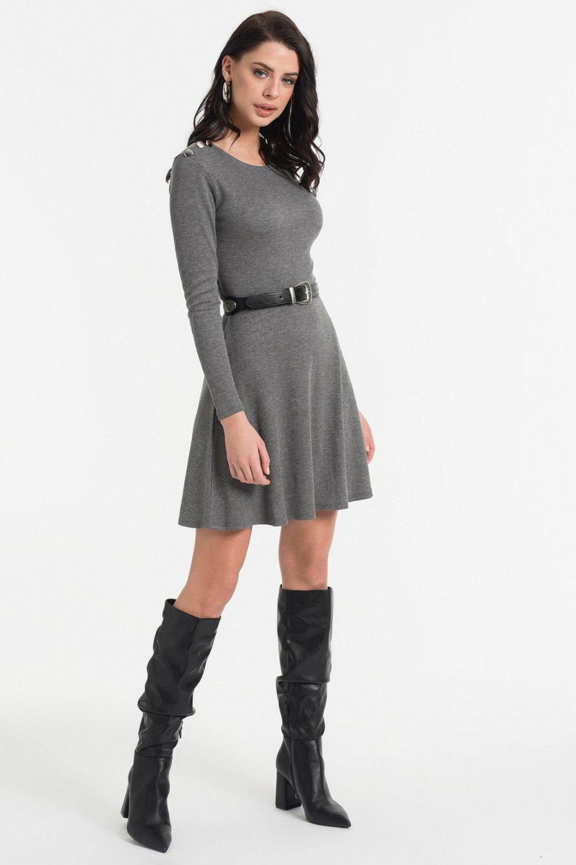 Styletag Gri Düğme Detaylı Mini Elbise