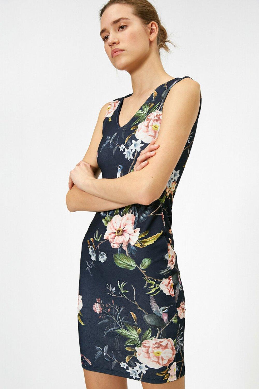 Koton Desenli Lacivert Mini Elbise