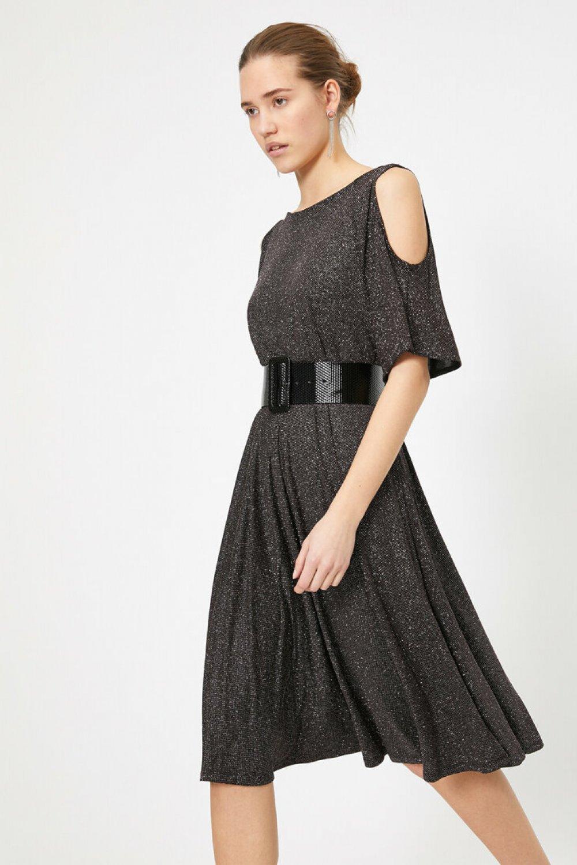 Koton Omuz Detaylı Siyah Mini Elbise