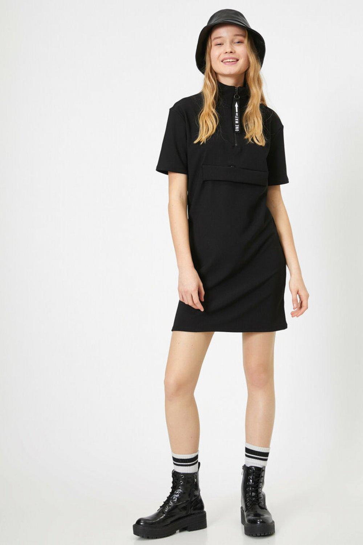 Koton Fermuar Detaylı Siyah Mini Elbise