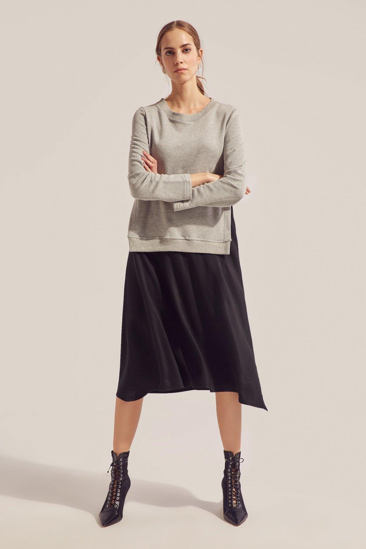 Monamoda Gri-Siyah Sweat Garnili Viskon Midi Elbise