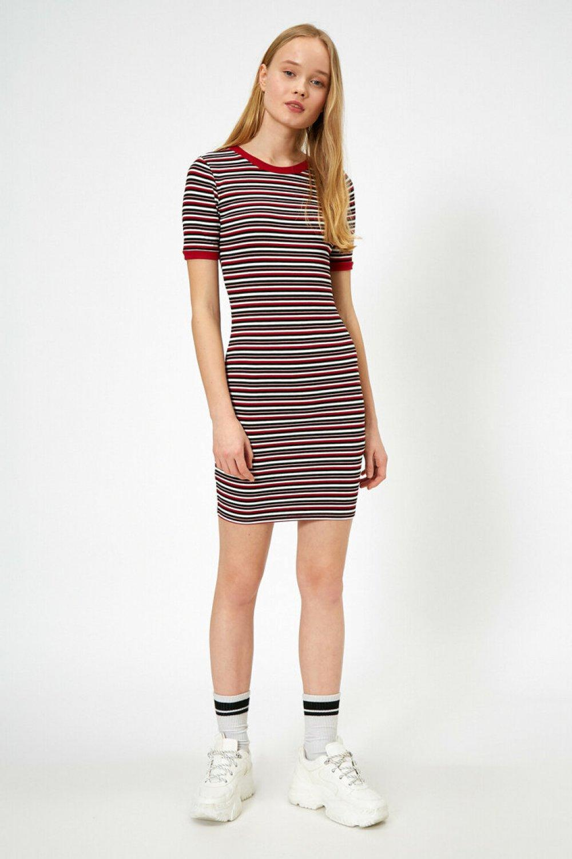 Koton Çizgili Kırmızı Mini Elbise